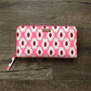 Kate Spade Laurel Way Ikat Pink Full Zip Wallet
